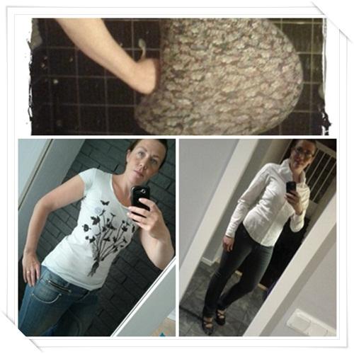 Översta bilden är tagen några timmar innan Tilia kom till världen. Nedre vänstra är från 16 veckor efter förlossning och elva veckor från den nedre högra bilden som är tagen igår. Från magbilden till den nedersta högra bilden skiljer det 27,9 kg!